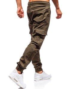 Spodnie joggery bojówki męskie khaki Denley 0404
