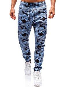 Spodnie joggery bojówki męskie moro-błękitne Bolf 0404