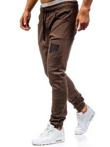 Spodnie joggery męskie brązowe Denley 0829