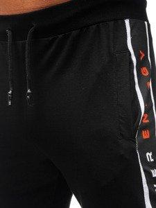 Spodnie męskie dresowe czarne Denley 6819