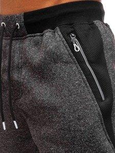 Spodnie męskie dresowe czarne Denley TC881
