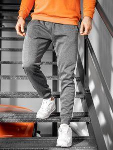 Spodnie męskie dresowe grafitowo-białe Denley JZ11006