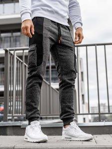 Spodnie męskie dresowe joggery czarno-pomarańczowe Denley Q3774