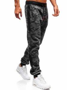 Spodnie męskie dresowe joggery grafitowe Denley 55017