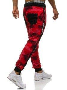 Spodnie męskie dresowe moro-czerwone Denley 0877