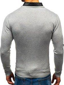 Sweter męski 2w1 z koszulą szary Denley 88132