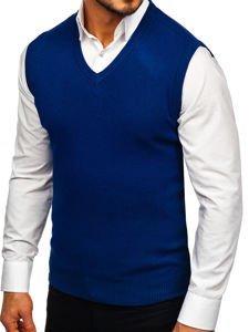 Sweter męski bez rękawów niebieski Denley H1939