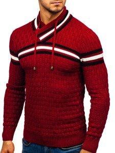 Sweter męski ze stójką czerwony Denley 6006