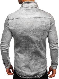 Szara koszula męska jeansowa z długim rękawem Denley R709