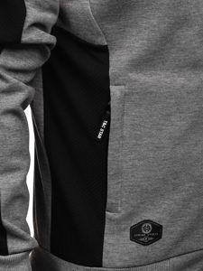 Szara z kapturem bluza męska rozpinana Denley TC1015