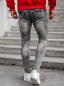 Szare spodnie jeansowe męskie regular fit z paskiem Denley 6038S0