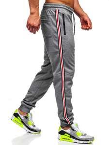 Szare spodnie męskie dresowe joggery Denley Q3886