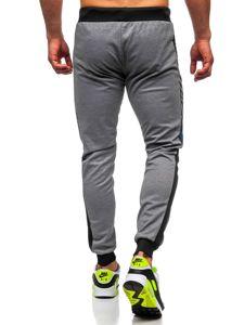 Szare z nadrukiem dresowe spodnie męskie Denley AM96