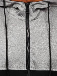 Szaro-czarna z kapturem bluza męska rozpinana Denley HY752