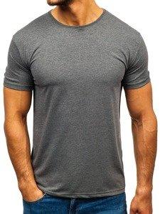 T-shirt męski bez nadruku grafitowy Denley 9001-1