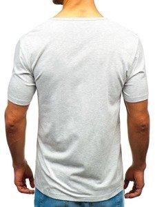 T-shirt męski bez nadruku szary Denley T1281