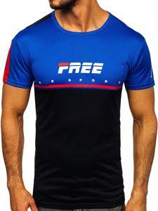 T-shirt męski treningowy z nadrukiem czarny Denley SS10996