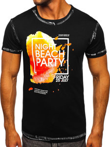 T-shirt męski z nadrukiem czarny Denley s024