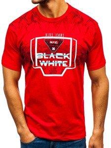 T-shirt męski z nadrukiem czerwony Denley 14207