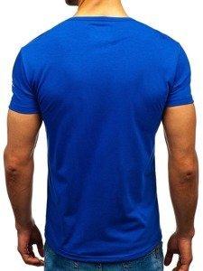 T-shirt męski z nadrukiem niebieski Denley 100730