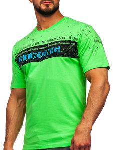T-shirt męski z nadrukiem seledynowy Denley 14204