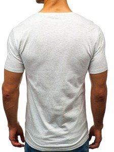 T-shirt męski z nadrukiem szary Denley 7483