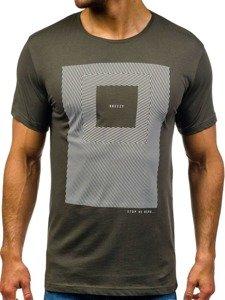 T-shirt męski z nadrukiem zielony Denley 304