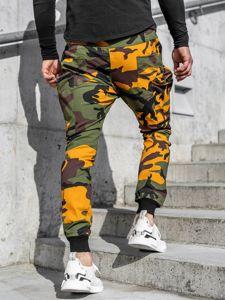 Zielono-pomarańczowe spodnie joggery bojówki męskie Denley 0475