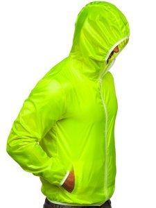 Żółty-neon przejściowa kurtka męska wiatrówka z kapturem BOLF 5060
